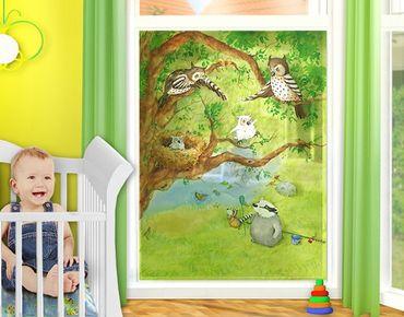 Decorazione per finestre Owl Chick Elsa Runs Away - Procione Wassili - La piccola civetta Elsa scappa via