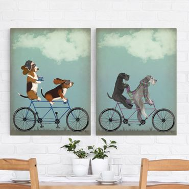 Stampa su tela - Ciclismo - Bassets e Schnauzer Tandem Set II - Verticale 4:3