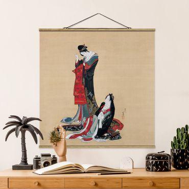 Foto su tessuto da parete con bastone - Katsushika Hokusai - Due Courtesans - Quadrato 1:1