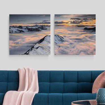 Quadro in legno effetto pallet - Vista Delle nuvole e montagne - Quadrato 1:1