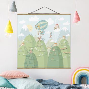 Foto su tessuto da parete con bastone - Foresta con case e animali - Quadrato 1:1