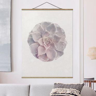 Foto su tessuto da parete con bastone - Acquarelli - Cactus succulente - Verticale 4:3