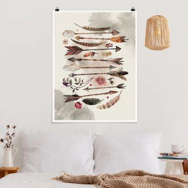 Poster - Boho frecce e piume - Acquerello - Verticale 4:3