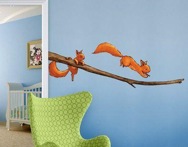 Adesivo murale animali - Scoiattoli su ramo