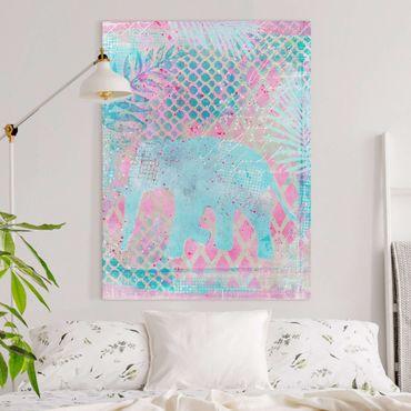 Stampa su tela - Colorato collage - Elefante in blu e rosa - Verticale 4:3