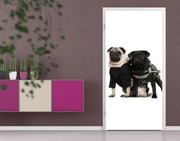 "Carta da parati per porte no.38 ""POSH PUG DOGS"" 100x210cm"