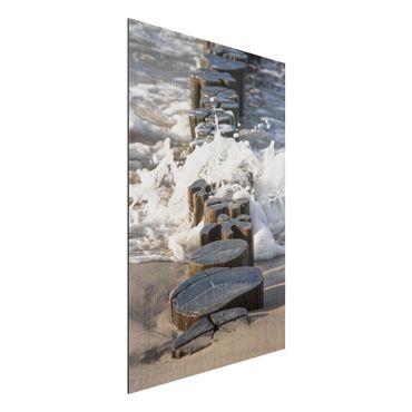 Stampa su alluminio spazzolato - Frangiflutti sulla spiaggia - Verticale 3:2