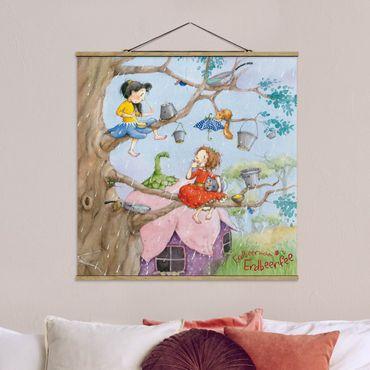 Foto su tessuto da parete con bastone - Strawberry Coniglio Erdbeerfee - piove - Quadrato 1:1
