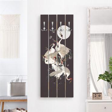 Appendiabiti in legno - Gru Davanti Luna II - Ganci cromati - Verticale