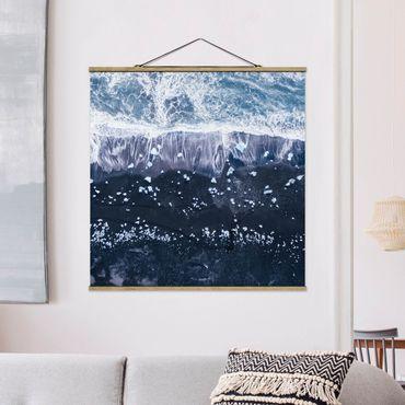 Foto su tessuto da parete con bastone - Veduta aerea - Jökulsárlón in Islanda - Quadrato 1:1