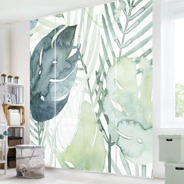 Tenda scorrevole set - Fronde di palma in acquerello I