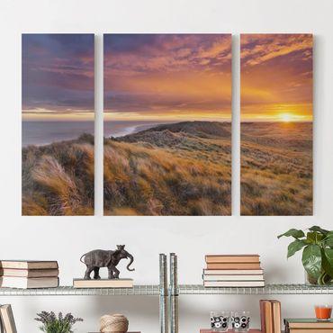Stampa su tela 3 parti - Sunrise On The Beach On Sylt - Trittico