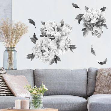 Adesivo murale fiori - Set di peonie bianco e nero scuro
