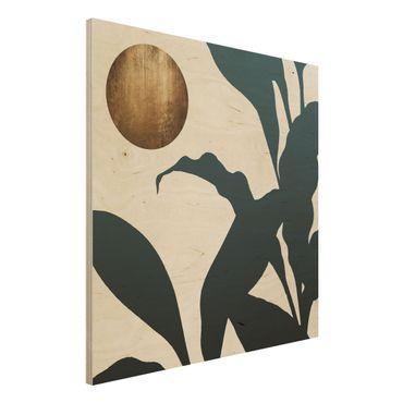 Stampa su legno - Luna dorata nella giungla - Quadrato 1:1
