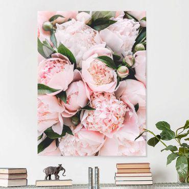 Quadro in vetro - Peonie rosa con foglie - Verticale 4:3