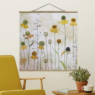 Foto su tessuto da parete con bastone - Delicato Helenium Fiori - Quadrato 1:1
