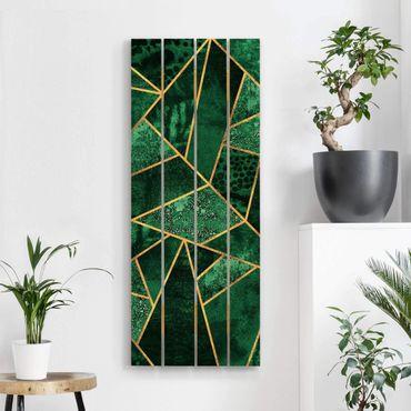 Stampa su legno - Elisabeth Fredriksson - Dark Emerald con oro - Verticale 5:2