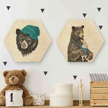 Esagono in legno - Laura Graves - le coppie dell'orso