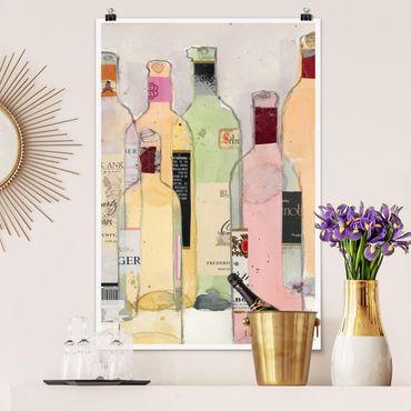 Poster - Bottiglie di vino in acquerello I - Verticale 3:2