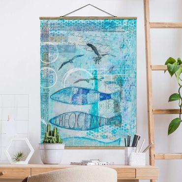 Foto su tessuto da parete con bastone - Colorato collage - Bluefish - Verticale 4:3