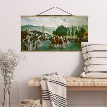 Foto su tessuto da parete con bastone - Edouard Manet - Corse di cavalli - Orizzontale 1:2