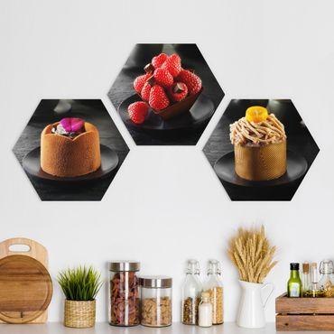 Esagono in Alu-dibond - Torta al cioccolato con lamponi