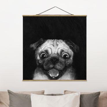 Foto su tessuto da parete con bastone - Laura Graves - Illustrazione Pug Dog Pittura Su Bianco e nero - Quadrato 1:1