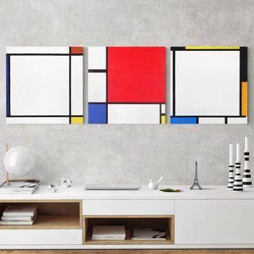 Stampa su tela 3 parti - Piet Mondrian - Square Compositions - Quadrato 1:1