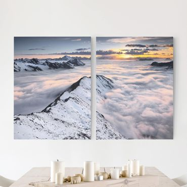 Stampa su tela 2 parti - View Of Clouds And Mountains - Verticale 4:3