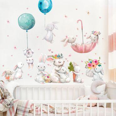 Adesivo murale - Famiglia del coniglio