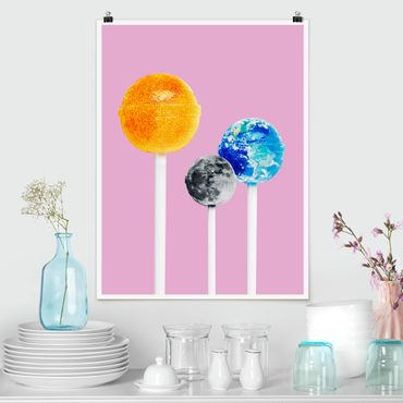 Poster - Lollipops con pianeti - Verticale 4:3