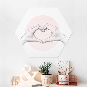Esagono in forex - Illustrazione Cuore cerchio mani Rosa Bianco