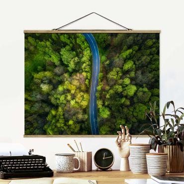 Foto su tessuto da parete con bastone - Veduta aerea - Strada asfaltata In The Forest - Orizzontale 3:4