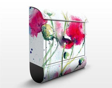 Cassetta postale design Painted Poppies 39x46x13cm