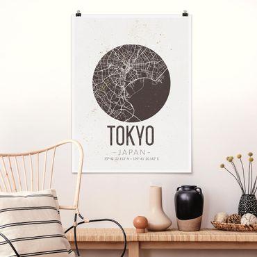 Poster - Mappa Tokyo - Retro - Verticale 4:3