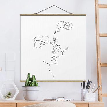 Quadro su tessuto con stecche per poster - Line Art Faces donne Bianco e nero - Quadrato 1:1