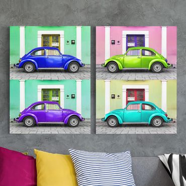 Stampa su tela 2 parti - Colored Beetles - Verticale 4:3