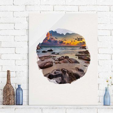 Quadro in vetro - Acquarelli - Spiaggia Alba In Thailandia - Verticale 4:3