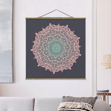 Foto su tessuto da parete con bastone - Mandala Ornamento In rosa e blu - Quadrato 1:1