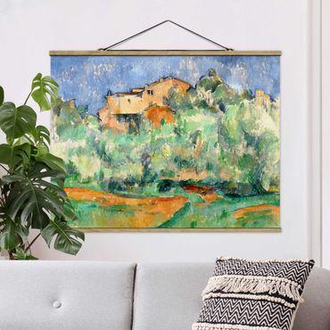 Foto su tessuto da parete con bastone - Paul Cézanne - casa sulla collina - Orizzontale 3:4
