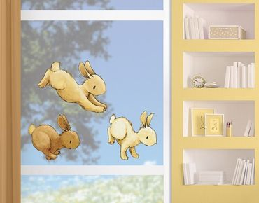 Adesivi da finestra Hobbling Bunnies