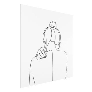 Stampa su Forex - Line Art collo donna Bianco e nero - Quadrato 1:1
