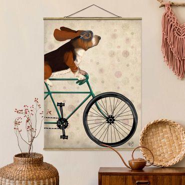 Foto su tessuto da parete con bastone - In bicicletta - Basset On Bike - Verticale 4:3