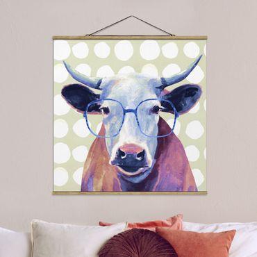 Foto su tessuto da parete con bastone - Animali Occhialuto - Mucca - Quadrato 1:1