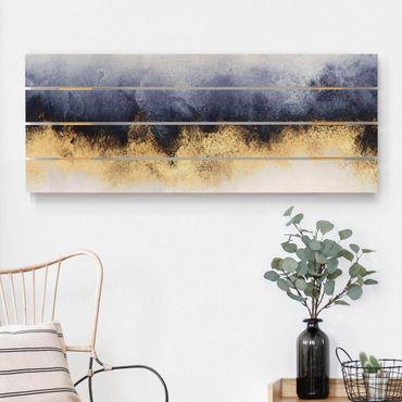 Stampa su legno - Elisabeth Fredriksson - Cielo nuvoloso con oro - Orizzontale 2:5