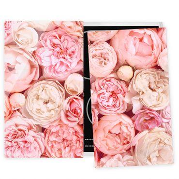 Coprifornelli in vetro - Rose Rose Coral Shabby - 52x80cm
