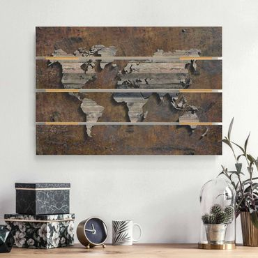 Stampa su legno - Mappa del mondo di legno Griglia - Orizzontale 2:3