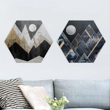 Esagono in Alu-dibond - Elisabeth Fredriksson - Golden Moon E Montagne geometriche