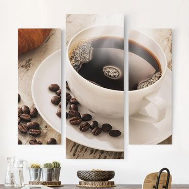 Stampa su tela - Steaming Coffee Cup With Coffee Beans - Trittico da galleria