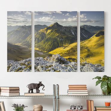 Stampa su tela 3 parti - Mountains And Valley Of The Lechtal Alps In Tirol - Trittico
